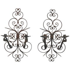 Pair of French Iron Sconces, 1940s