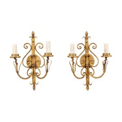 Pair of French Iron Scrolling Fleur de Lys Sconces