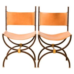 Pair of French Iron Side Chairs with Leather Seats, circa 1940