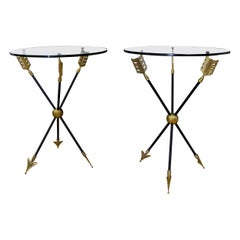 Pair of French Jansen Arrow Directoire Side Tables