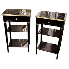 Pair of French Jansen Style Black Lacquered Side Tables with Brass Trim