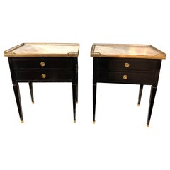 Pair of French Jansen Style Black Lacquered Side Tables with Carrara Marble Tops