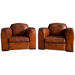Pair of French Jean Moulin Leather Club Chairs, circa 1920