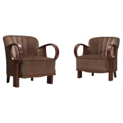 Pair of French Jean Pascaud Style Art Deco Club Chairs in Oak and Velvet, 1930s