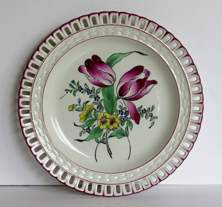 Pair of French K&G Luneville Faience Plates Hand Painted Flowers, circa 1895 For Sale 3