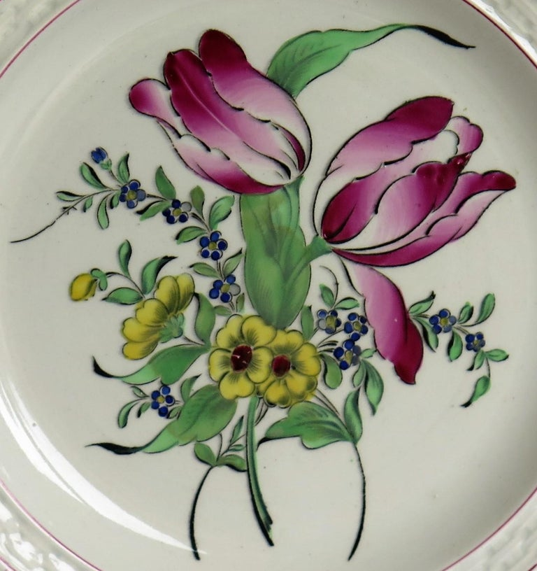 Pair of French K&G Luneville Faience Plates Hand Painted Flowers, circa 1895 For Sale 4