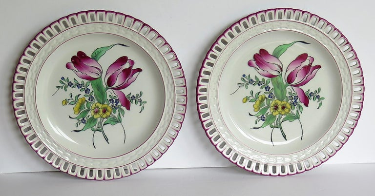 Country Pair of French K&G Luneville Faience Plates Hand Painted Flowers, circa 1895 For Sale