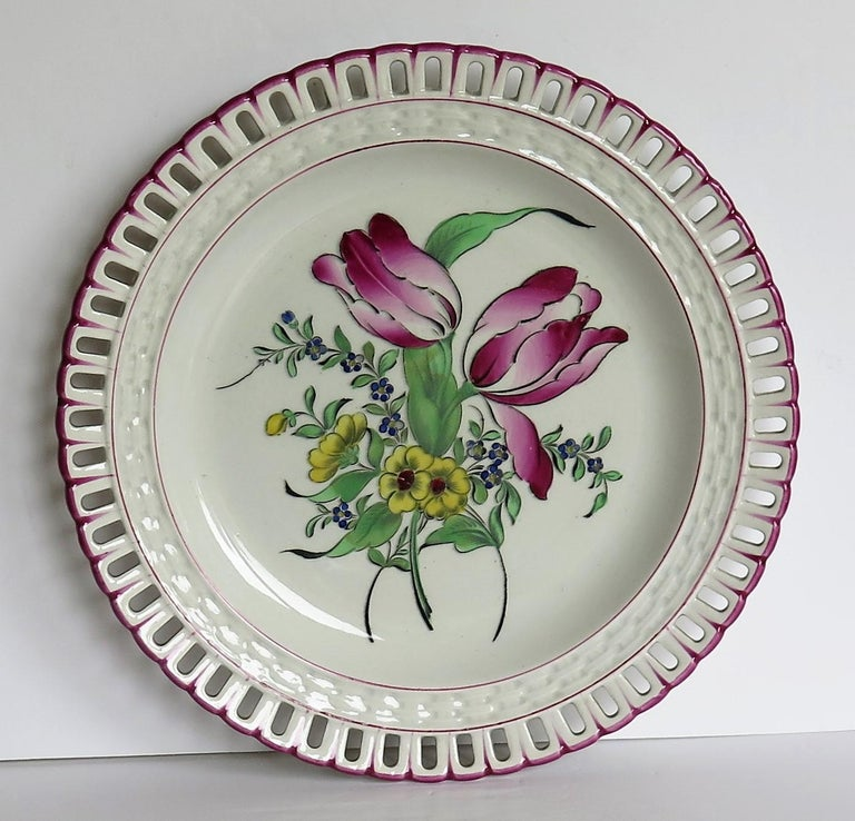 Hand-Painted Pair of French K&G Luneville Faience Plates Hand Painted Flowers, circa 1895 For Sale
