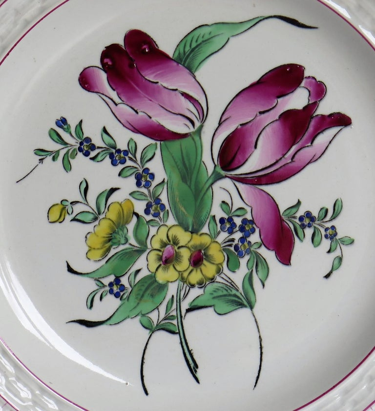 19th Century Pair of French K&G Luneville Faience Plates Hand Painted Flowers, circa 1895 For Sale