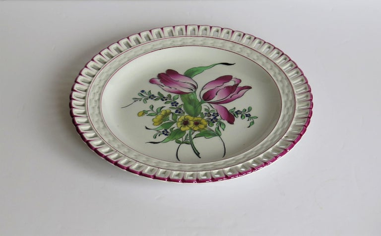 Pair of French K&G Luneville Faience Plates Hand Painted Flowers, circa 1895 For Sale 2