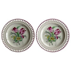 Pair of French K&G Luneville Faience Plates Hand Painted Flowers, circa 1895