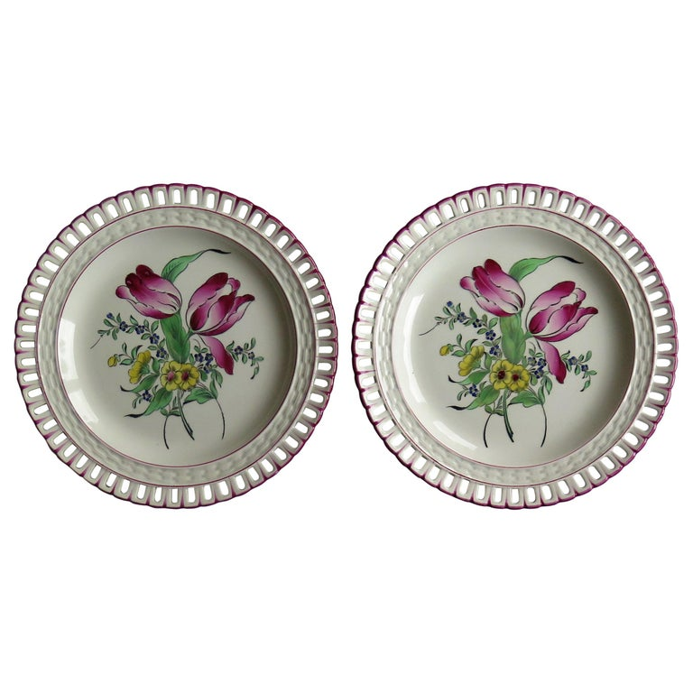 Pair of French K&G Luneville Faience Plates Hand Painted Flowers, circa 1895 For Sale