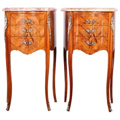 Pair of French Kingwood Louis XV Style Nightstands