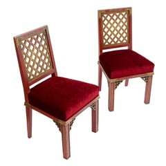 Pair of French Lacquer Chinoiserie Side Chairs, Maison Jansen, circa 1950s