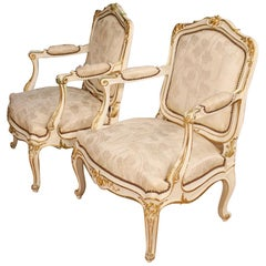 Pair of French Lacquered and Gilded Armchairs, 20th Century