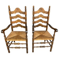 Pair of French Ladder Back Armchairs