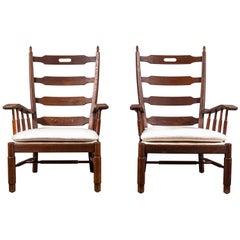 French Ladder Back Oak Framed Chair