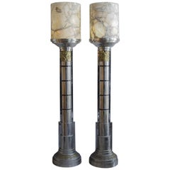 Pair of French Lamps 'Alabaster and Bronzes' Art Deco