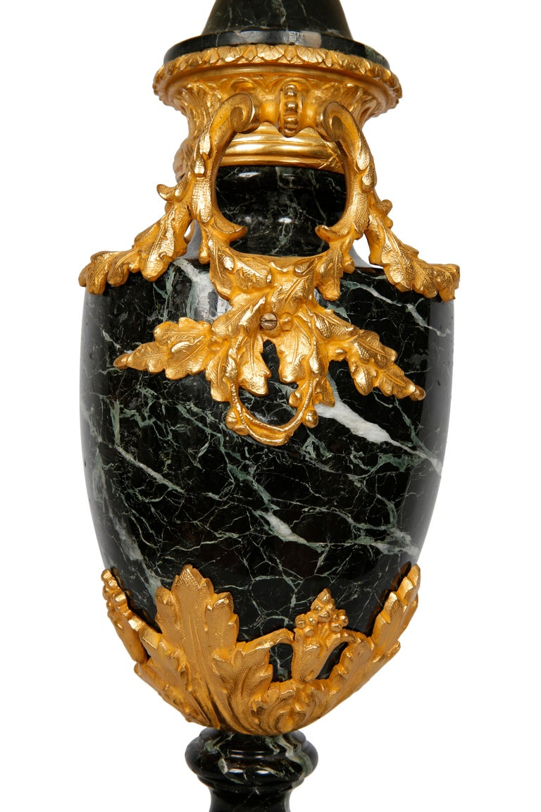 Gilt Pair of French Lamps Green Marble   For Sale