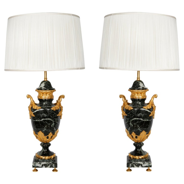 Pair of French Lamps Green Marble   For Sale