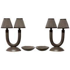 Pair of French Lamps with Ash Trays