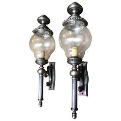 Pair of French Lanterns, Nickel-Plated, 20th Century