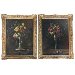 Rare Pair of Floral Paintings by Charles Franzini D'issoncourt, Ornate Frames