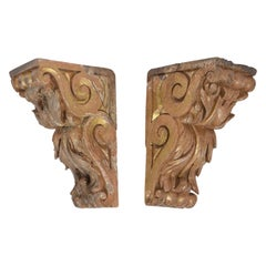 Pair of French Late 18th Century Carved-wood Corbels