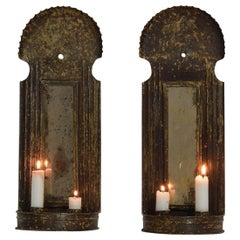Pair of French, Late 18th Century Iron Wall Candleholders with Mirrors
