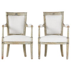 Pair of French Late 18th Century Painted Armchairs