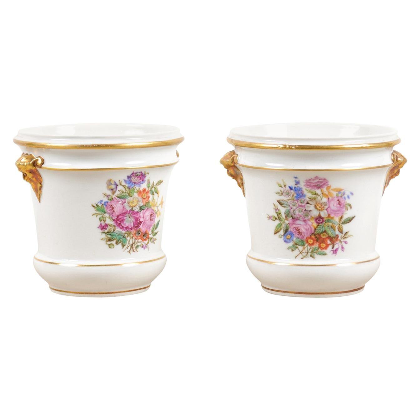 Pair of French Late 18th Century Paris Porcelain Cachepots with Floral Décor