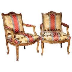 Pair of French Late 19th Century Louis XV Style Oak 'Dossier La Reine' Armchairs