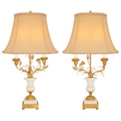 Pair of French Late 19th Century Louis XVI Style Candelabra Mounted into Lamps