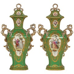 Pair of French Late 19th Century Sevres Style Hand Painted Porcelain Vases