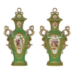Pair of French Late 19th Century Sèvres Style Hand Painted Porcelain Vases