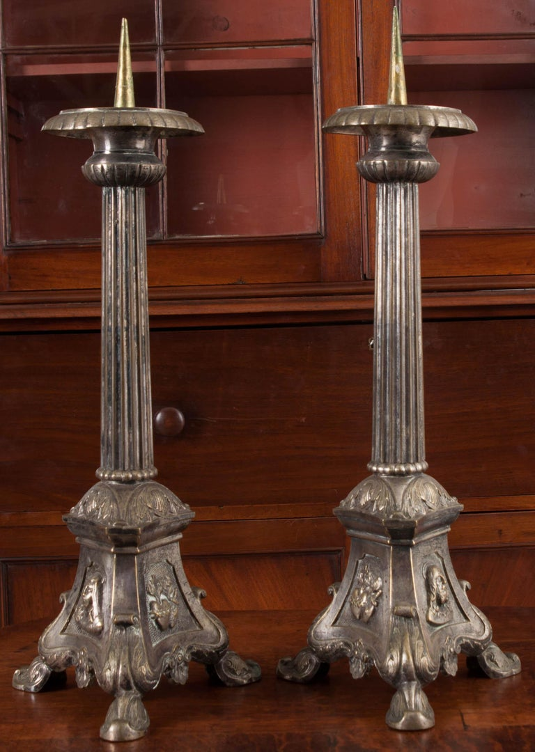 Patinated Pair of French Late 19th Century Silver Plate Altar Candlesticks For Sale
