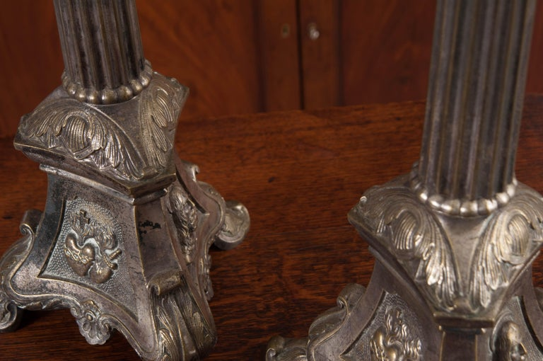 Pair of French Late 19th Century Silver Plate Altar Candlesticks For Sale 3