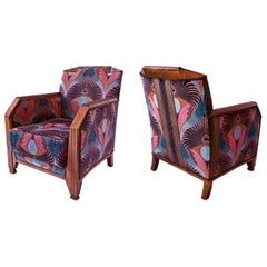 Pair of French Late Art Deco Mahogany Bergeres/ Club Chairs, Maurice Dufrene