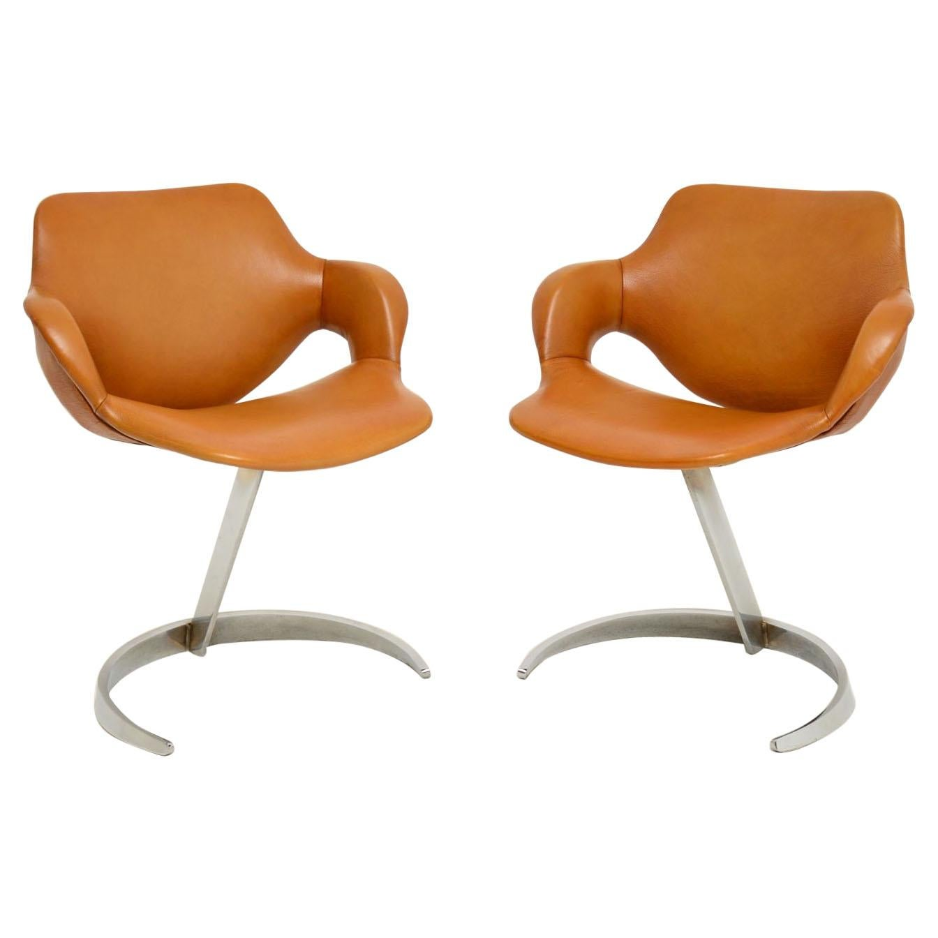 Pair of French Leather and Chrome Scimitar Chairs by Boris Tabacoff