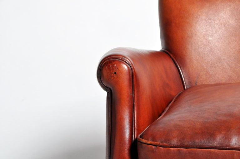 Pair of French Leather Armchairs For Sale 6