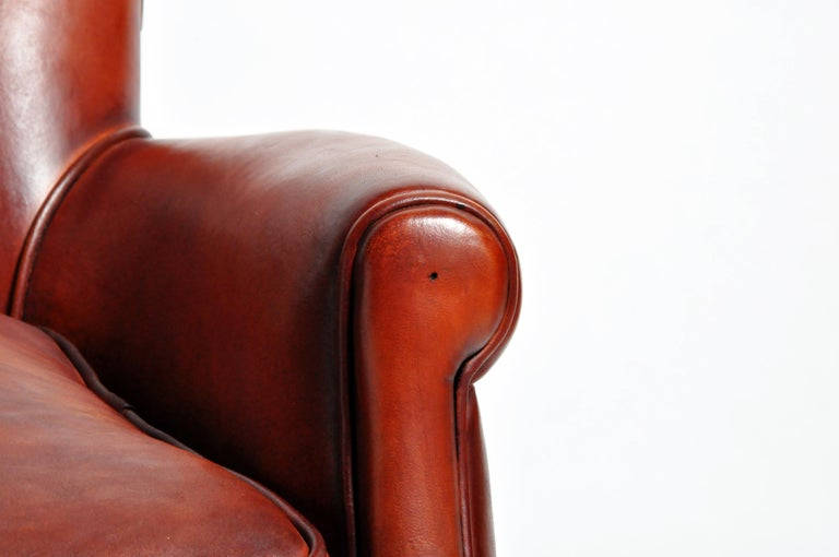 Pair of French Leather Armchairs For Sale 8