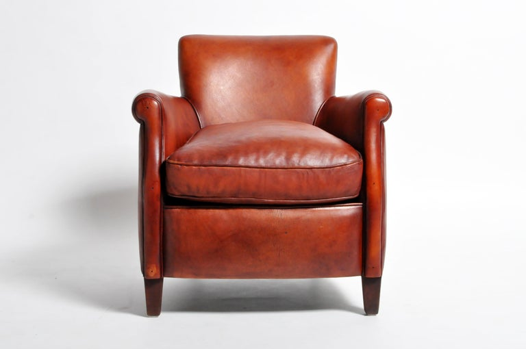 Pair of French Leather Armchairs In Good Condition For Sale In Chicago, IL