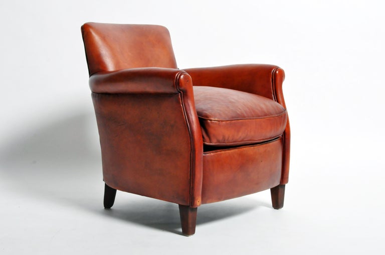 Contemporary Pair of French Leather Armchairs For Sale