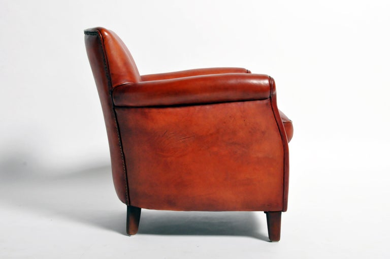 Pair of French Leather Armchairs For Sale 1