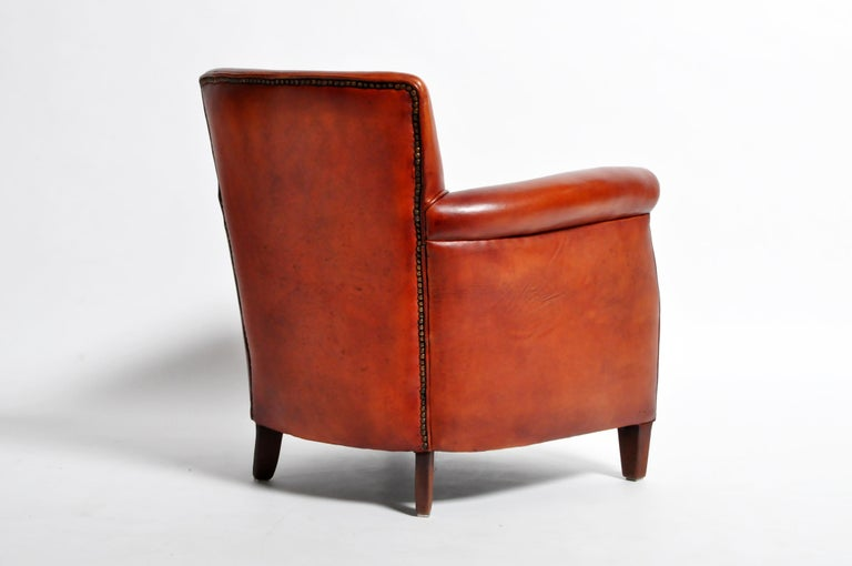 Pair of French Leather Armchairs For Sale 2