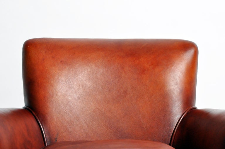 Pair of French Leather Armchairs For Sale 4