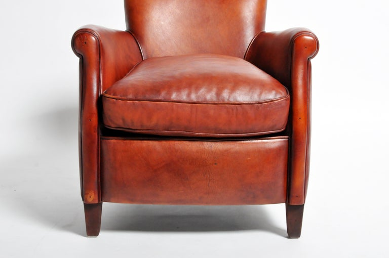 Pair of French Leather Armchairs For Sale 5