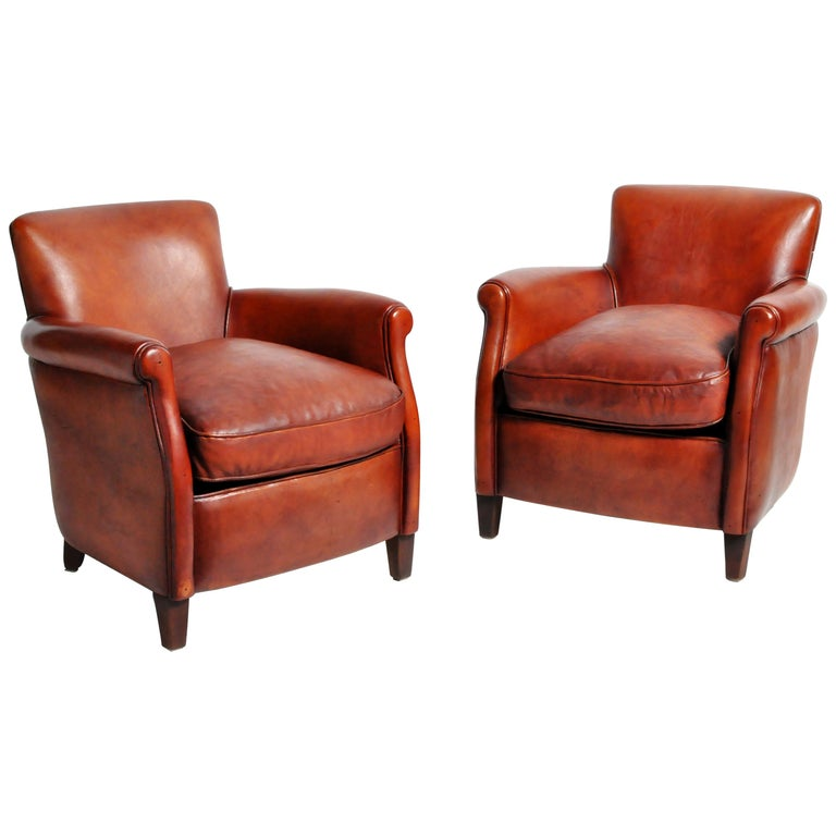 Pair of French Leather Armchairs For Sale