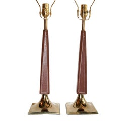 Pair of French Leather-Bound Lamps