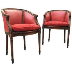 Pair of French Leather, Cane and Suede Library Bergère Chairs